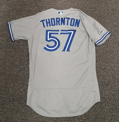 Photo of Authenticated Game Used Jersey - #57 Trent Thornton (May 14, 19: 5.2 IP, 3 Hits, 2 ER, 5 BB, 7 Ks. 1st Major League Win. Also 2-for-3 with 2 Runs. 1st MLB Hit). Size 46.