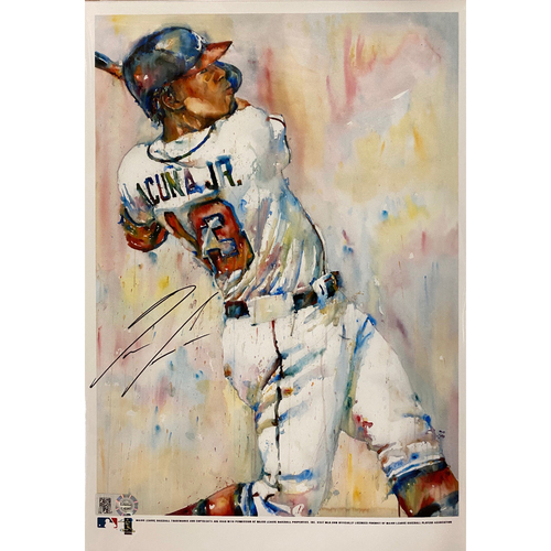 Photo of Ronald Acuna, Jr. Autographed Richard Sullivan Art 7x10 Print