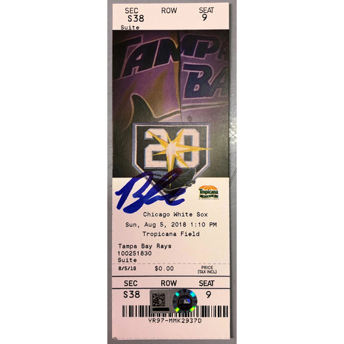 Photo of Rays Baseball Foundation: Brandon Lowe Autographed MLB Debut Game Ticket - August 5, 2018 v CWS