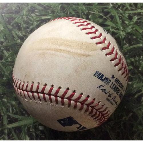 Photo of Game-Used Baseball PIT@MIL 06/08/19 - Jordan Lyles - Orlando Arcia: RBI Double