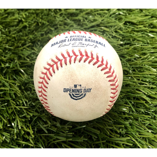 Photo of 2020 Opening Day: Game-Used Baseball: Max Scherzer Strikeout of Giancarlo Stanton