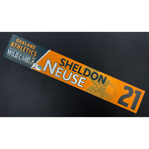 Photo of Team Issued 2020 AL Wild Card Locker Nameplate - Sheldon Neuse