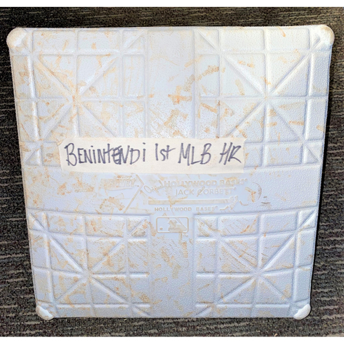 Photo of Andrew Benintendi Boston Red Sox First Career Major League Home Run Game-Used Base (MLB AUTHENTICATED)