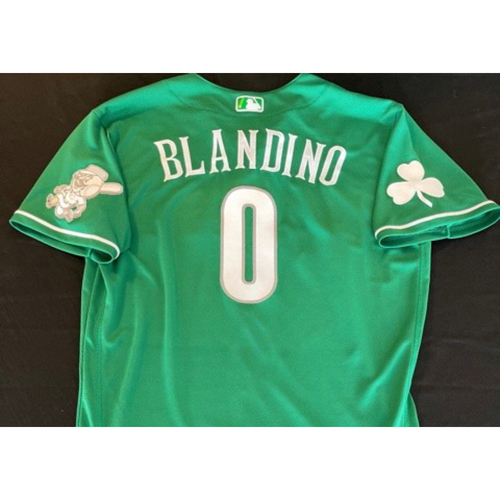 Photo of Alex Blandino -- Game-Used Jersey -- 2021 St. Patrick's Day Game -- Size: 44