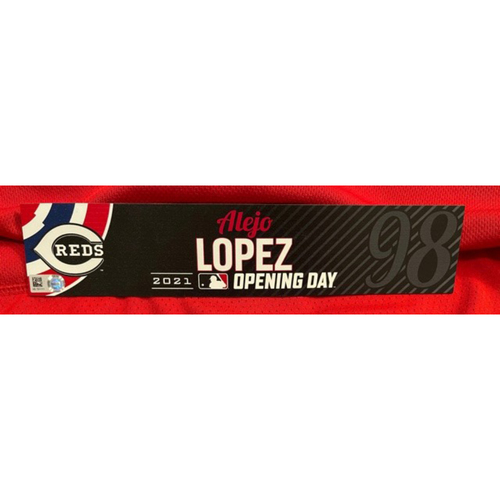 Photo of Alejo Lopez -- 2021 Opening Day Locker Tag -- Team-Issued -- Cardinals vs. Reds on 4/1/21
