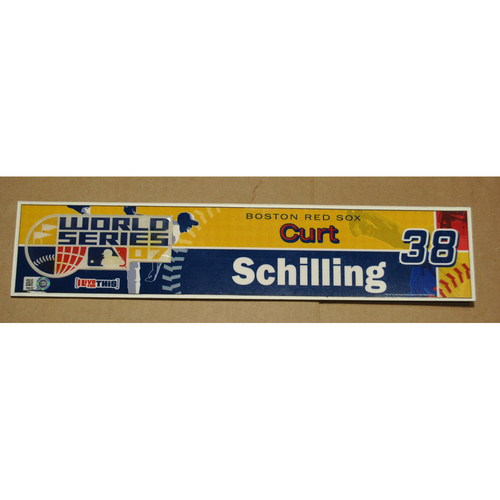 Photo of Game-Used Locker Name Plate - 2007 World Series Game 2 - Colorado Rockies vs. Boston Red Sox - Curt Schilling (Boston Red Sox)