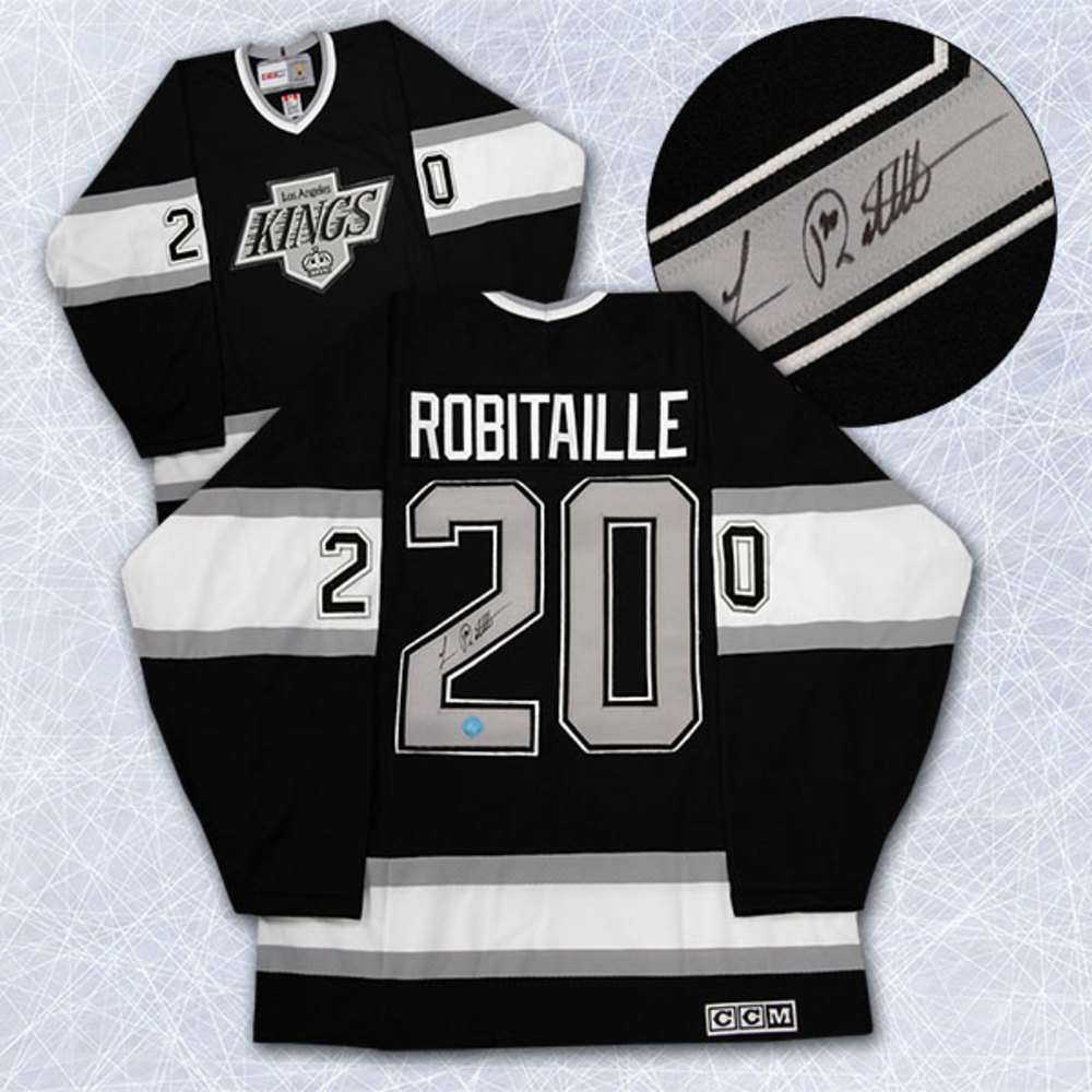 Luc Robitaille Los Angeles Kings Autographed Silver & Black Retro CCM Jersey