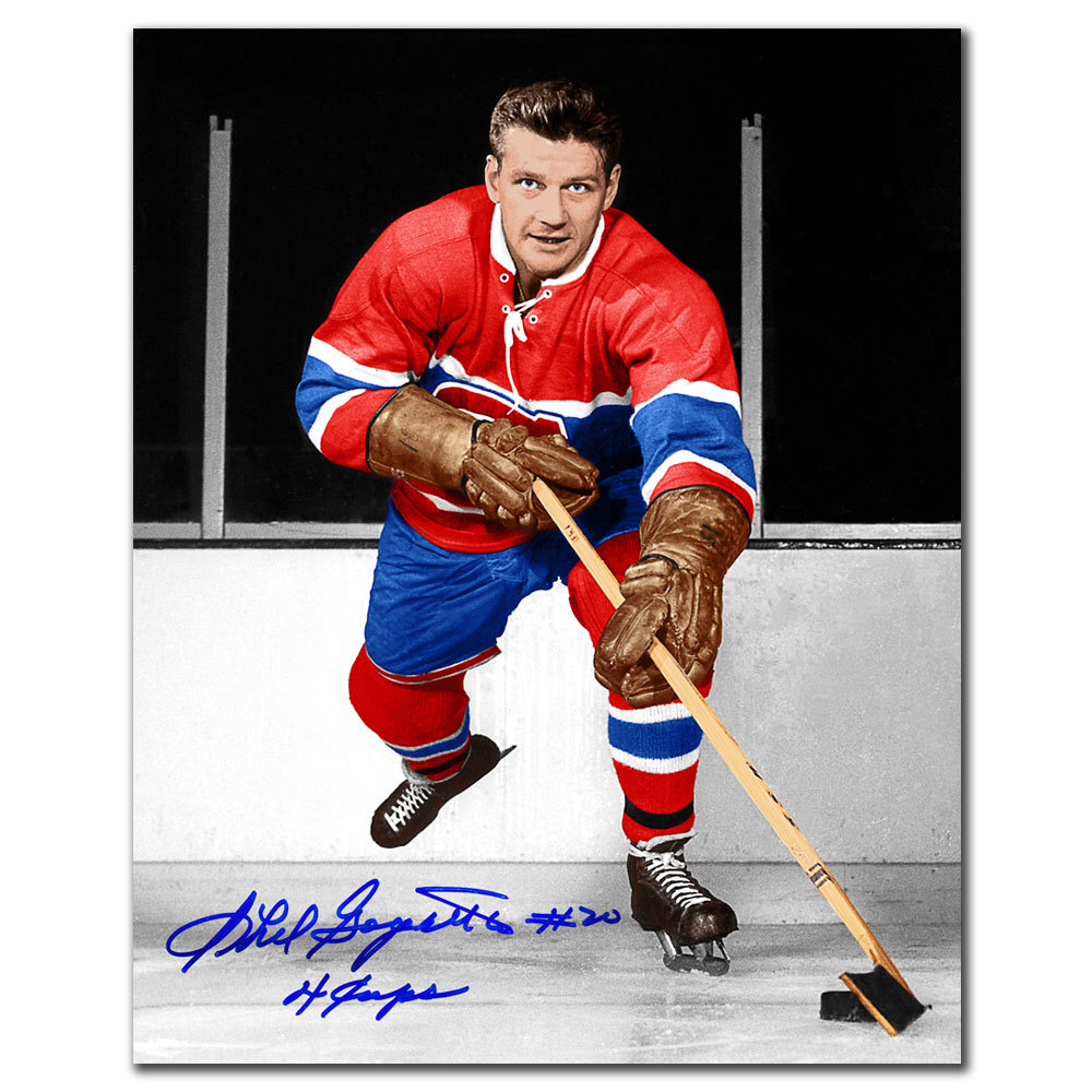Phil Goyette Montreal Canadiens 4 Cups Autographed 8x10