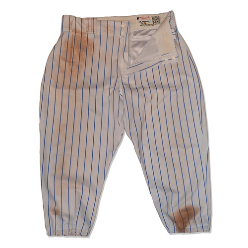 Curtis Granderson #3 - Game Used White Pinstripe Pants - Granderson Hits 300th Career Home Run - Mets vs. Cubs - 6/14/17
