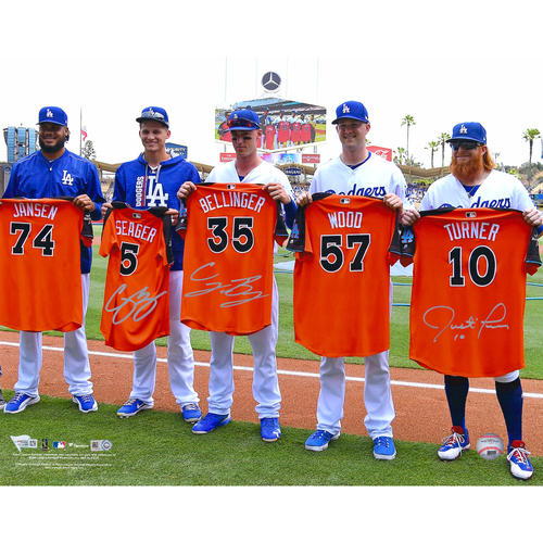 "Photo of Cody Bellinger, Corey Seager and Justin Turner Los Angeles Dodgers Autographed 16"" x 20"" Holding 2017 All-Star Jerseys Photo"