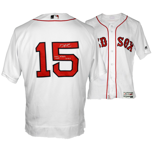 Photo of Dustin Pedroia Boston Red Sox Autographed Game-Used Jersey with Game Used 6/22/16, 2-4, R Inscriptions