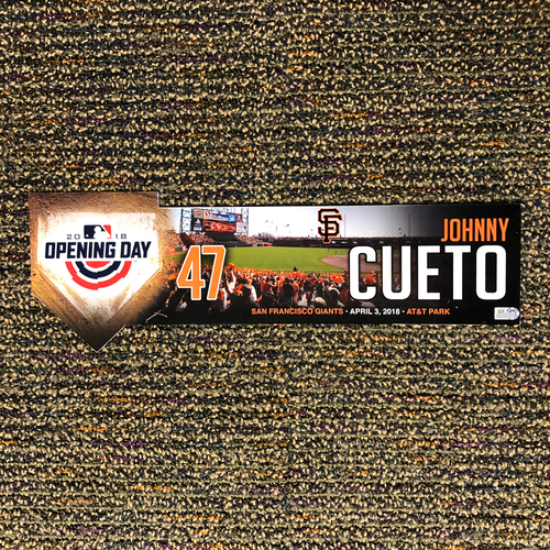 Photo of San Francisco Giants - 2018 Home Opening Day Locker Tag - #47 Johnny Cueto