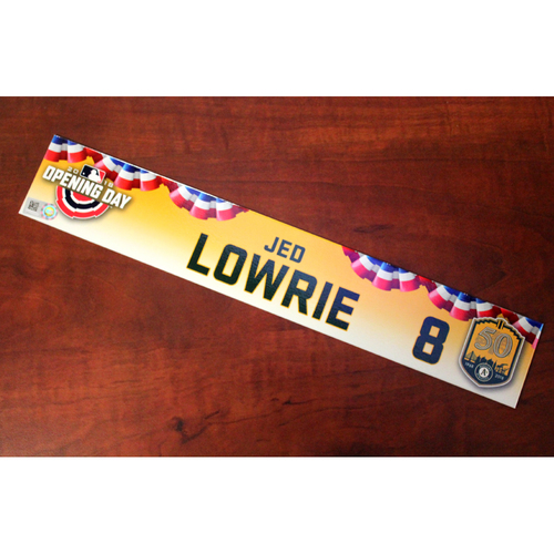 Photo of Jed Lowrie Game-Used Opening Day 2018 Locker Nameplate