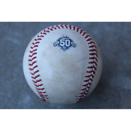Photo of Game-Used Baseball: Mike Trout Foul  (LAA at KC - 6/25/18)