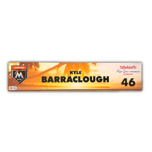 Photo of Game-Used Locker Tag: Kyle Barraclough - 2018 Spring Training