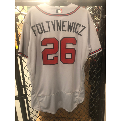 Photo of Mike Foltynewicz Game-Used Road Grey Jersey - Worn 9/25/17