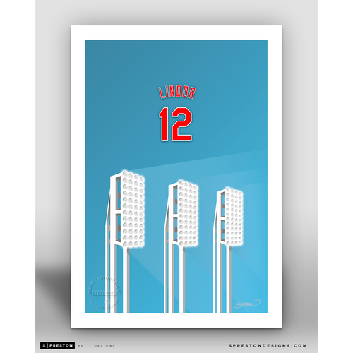 Minimalist Progressive Field Francisco Lindor  Player Series Art Print by S. Preston - Limited Edition