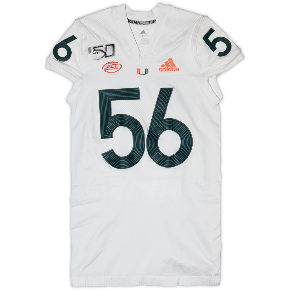 Miami Hurricanes Game-Used #56 White Parley Jersey - Size Large
