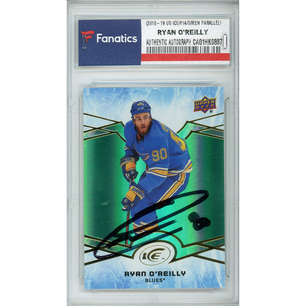 Ryan O'Reilly St. Louis Blues Autographed 2018-19 Upper Deck Ice #14 Emerald Parallel Card