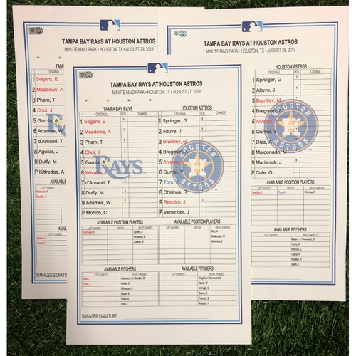 Replica LineUp Cards: August 27-29, 2019 at HOU