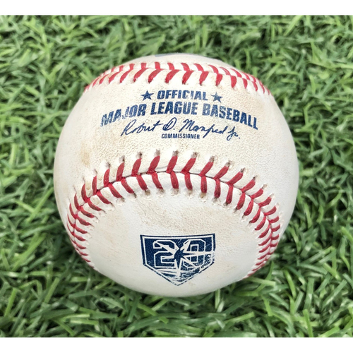 Photo of 20th Anniversary Game Used Baseball: Tommy Pham walk, Matt Duffy single, C.J. Cron RBI double & Kevin Kiermaier fielder choice off Josh Rodgers - September 9, 2018 v BAL