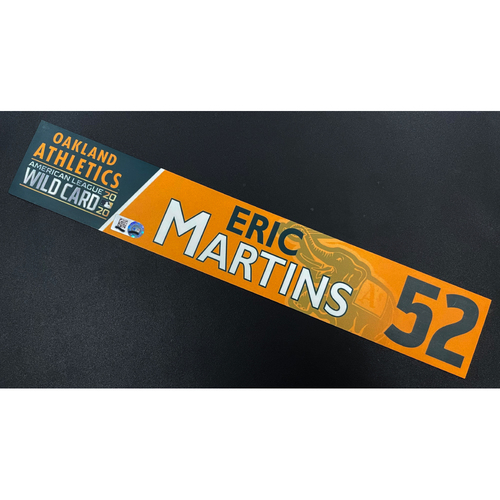 Photo of Game-Used 2020 AL Wild Card Locker Nameplate - Eric Martins