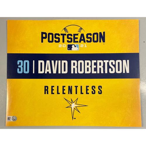 Photo of Game Used ALDS Locker Tag: David Robertson - Game 1 & 2 - October 7-8, 2021 v BOS