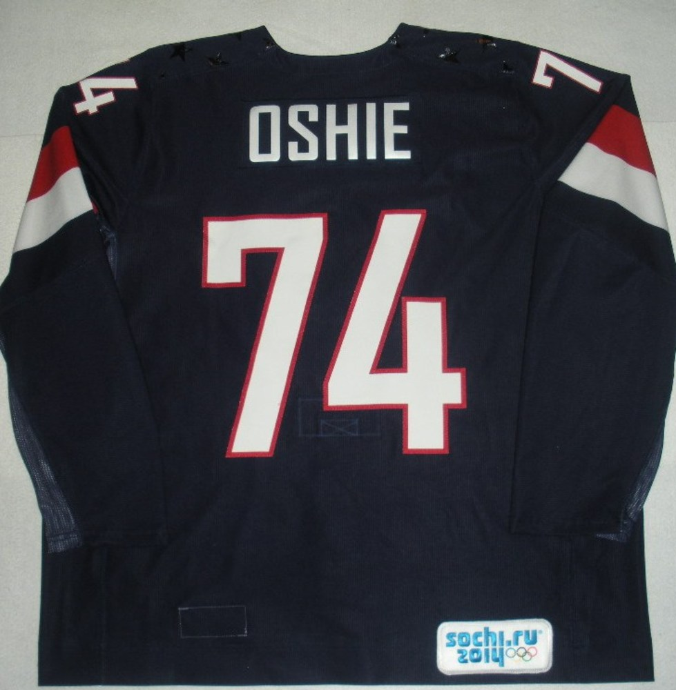 T.J. Oshie - Sochi 2014 - Winter Olympic Games - Team USA Blue Game-Worn Jersey - Bronze Medal Game vs. Finland, 2/22/14