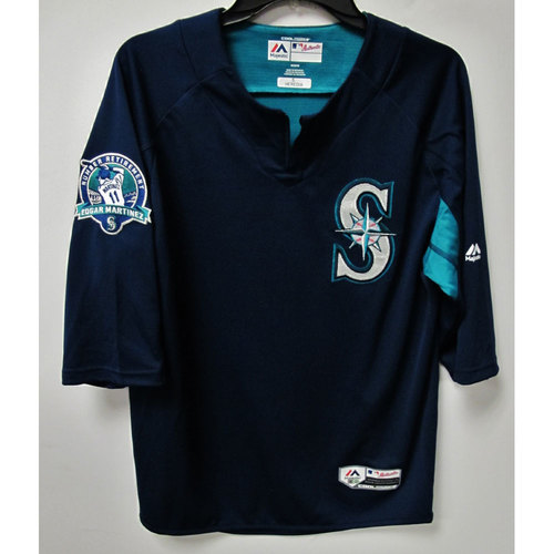 Guillermo Heredia Game-Used BP Jersey With Edgar Martinez Patch Worn 8-12-2017