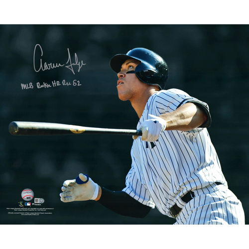 """Photo of Aaron Judge New York Yankees Autographed 16"""" x 20"""" 50th Home Run of Rookie Season Photo with MLB All-Time Rookie Home Run Record Inscription - #99 of L.E. of 99"""