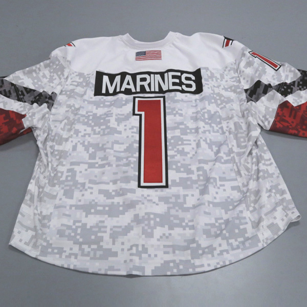 "Photo of Ohio State Ice Hockey Military Appreciation Jersey #1 ""MARINES"" / Size 60G"