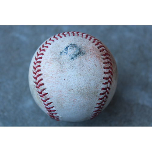 Photo of Game-Used Baseball: Mike Trout 1,129th Career Hit  (LAA at KC - 6/25/18)