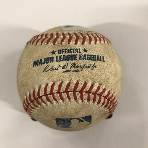 Photo of Game Used Baseball from Ronald Acuna Jr. Home Debut - 5/4/18 - Acuna Line Out - 2018 NL Rookie of the Year