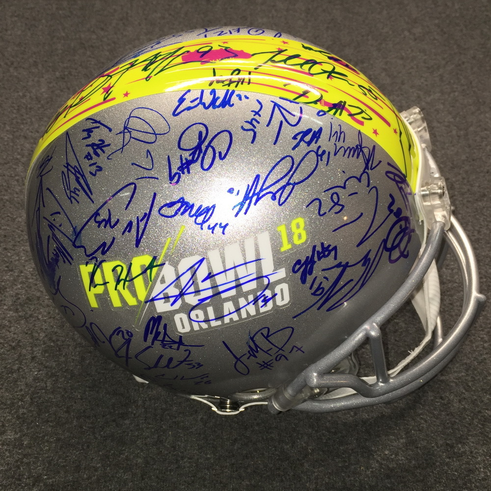 NFL - 2018 Pro Bowl multi signed proline helmet w/ over 60 signatures (including Russell Wilson, Drew Brees, Le'Veon Bell, Derek Carr, Alvin Kamara) 1 Heavily smudged signature