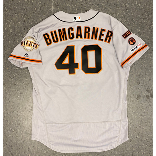 Photo of 2019 Game Used Road Jersey - worn by #40 Madison Bumgarner - Authenticated on 6/20/19 @ LAD - 3.2 IP, 3 K - size 50