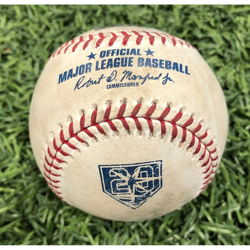 Photo of 20th Anniversary Game Used Baseball: Nick Ciuffo strikeout & Mallex Smith double off Oliver Perez - September 10, 2018 v CLE