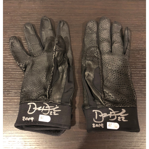 "Photo of Derek Dietrich -- *Autographed* Batting Gloves -- Inscribed ""2019"""
