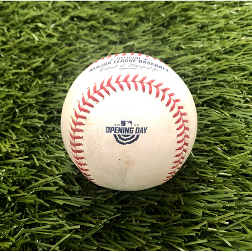 Photo of 2020 Opening Day: Game-Used Baseball: Tyler Wade Walk, Max Scherzer Strikeout of Aaron Hicks, Aaron Judge Double