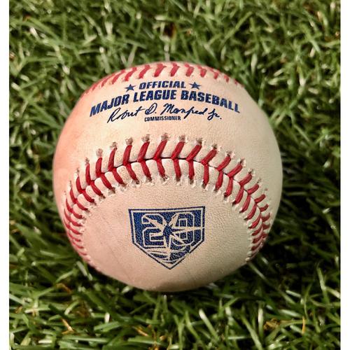 Photo of 20th Anniversary Game Used Baseball: Giancarlo Stanton single off Matt Andriese - July 23, 2018 v NYY