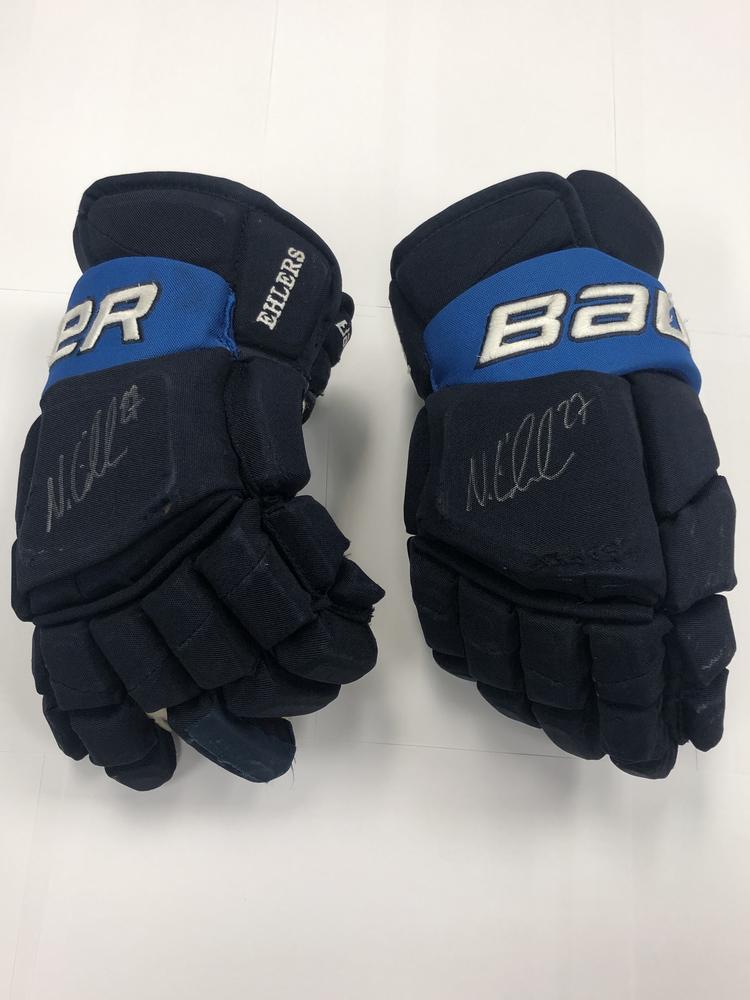 #27 Nikolaj Ehlers Game Used Autographed Gloves - Winnipeg Jets