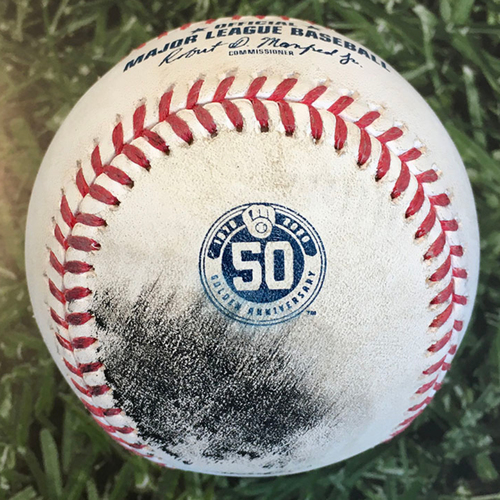 Photo of Game-Used Baseball CIN@MIL 08/08/20 - Corbin Burnes - Joey Votto: Foul
