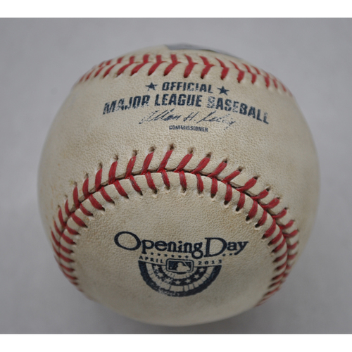 Photo of Game-Used Baseball - 4/1/13 - DET at MIN - Batter - Omar Infante, Pitcher - Vance Worley, Pitch in Dirt, Top of 6 - Opening Day