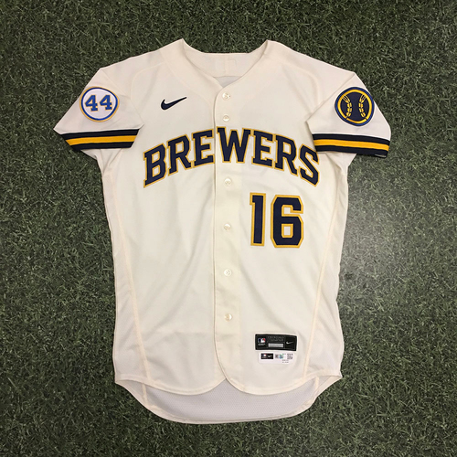 Photo of Kolten Wong 2021 Game-Used Opening Day Jersey - Scores First Brewers Run of 2021