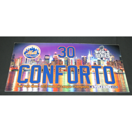 Photo of Game-Used Locker Name Plate Collection - 2015 World Series Games 3, 4, 5 - Kansas City Royals vs. New York Mets - Michael Conforto (New York Mets)