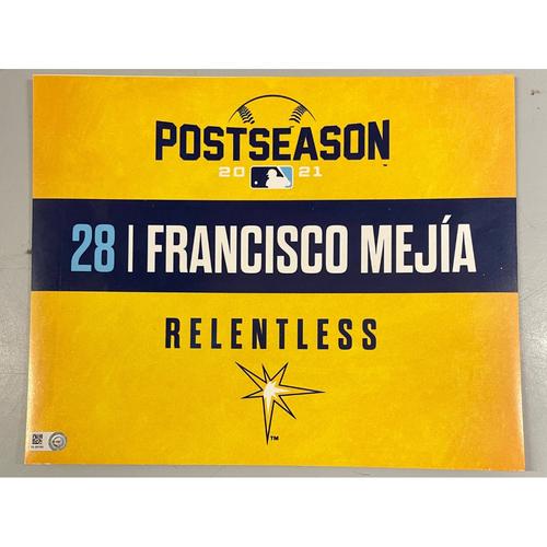 Photo of Game Used ALDS Locker Tag: Francisco Mejia - Game 1 & 2 - October 7-8, 2021 v BOS