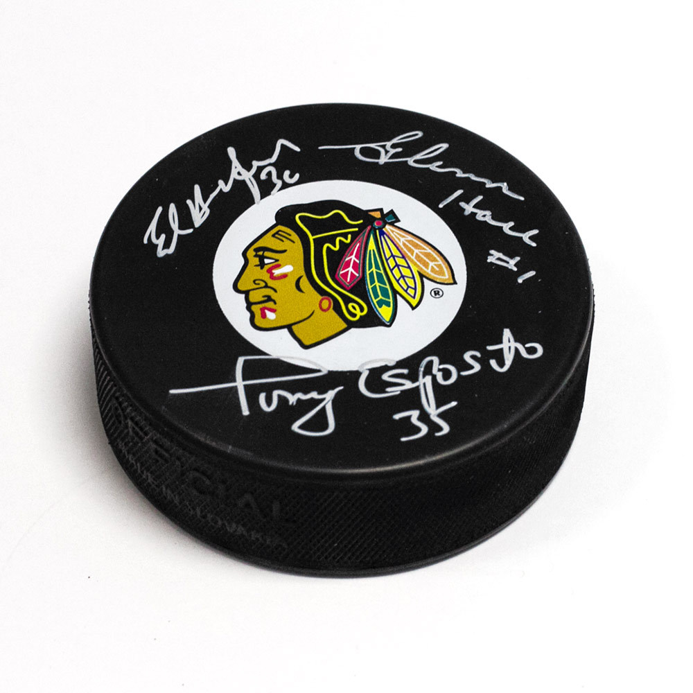 Tony Esposito, Glenn Hall & Ed Belfour Chicago Blackhawks Signed Vezina Puck