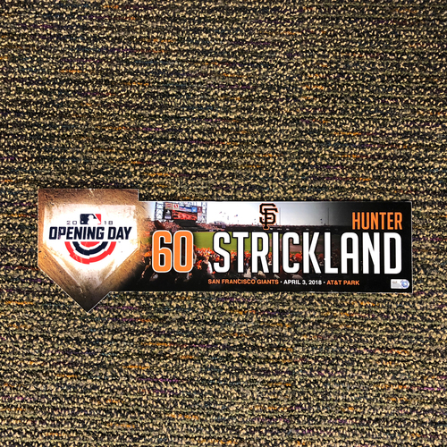 Photo of San Francisco Giants - 2018 Home Opening Day Locker Tag - #60 Hunter Strickland