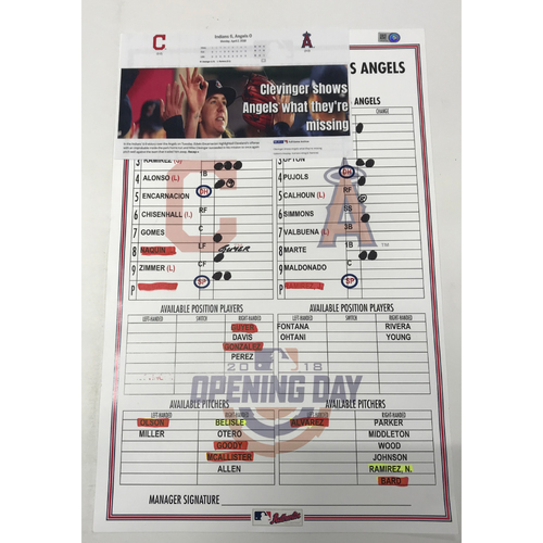 Photo of Game-Used Line Up Card 4/2/18 vs. Los Angeles Angels