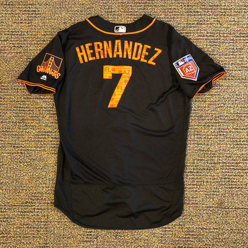 Photo of 2018 San Francisco Giants - 2018 Game Used Spring Training Jersey Worn by #7 Gorkys Hernandez on 3/27/2018 vs. Oakland A's