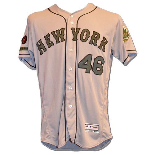Photo of Gerson Bautista #46 - Game Used Road Grey Memorial Day Jersey - Mets vs. Braves - 5/28/18